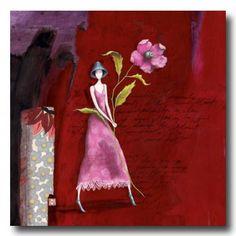 CARTES D'ART  BOISSONNARD Gaëlle  CARTES SIMPLES 14x14cm  BOISSONNARD La grande fleur et le chapeau bleu - e-mages - La carterie d art