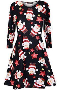 ... Candy Kittel Weihnachten Ausgestellt Franki Santa Damen Lebkuchen  Rentier Rudolph Mini Swing Kleid - Santa   Stars Schwarz, S M (36 38 1219038eda