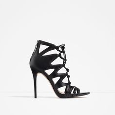 LACE-UP LEATHER SANDALS-Heeled sandals-SHOES-WOMAN | ZARA United States