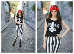 ★ LOOK OF THE DAY 07-09-2013 ★  · Remera Live Fast · Calza Stripes · Klever Vip Black · Vincha con flores  --------------------------------------------------------  · Live Fast Tee · Striped Leggings · Black Vip Klever Boots · Flower Headband