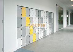 Inset lockers with trespa doors. Office Lockers, Built In Lockers, Built In Cabinets, Office Storage, Locker Storage, Locker Supplies, Locker Designs, Door Locker, Personal Storage