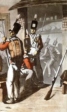 19th century illustration detail of a  British Soldiers. Note the back pack has no blanket roll on top of the back pack.