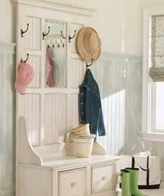 Entryways - want teh preachers bench Entryway Storage, Entryway Ideas, Storage Area, Stairway Decorating, Decorating Ideas, Decor Ideas, Craft Ideas, Entry Way Lockers, Mudroom Laundry Room