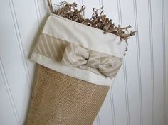 Shabby Chic Christmas Stocking in Burlap with by TurnbowDesigns