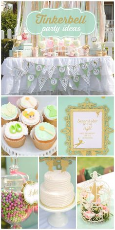 A gorgeous Tinkerbell in Neverland party with stunning decorations and a lovely cake and cupcakes! See more party planning ideas at CatchMyParty.com!   Disney Party   Disney Party Ideas   Disney Party Decorations  