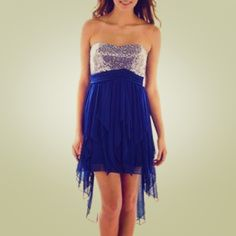 NWT Royal Blue Strapless Sequin High Low Dress Beautiful My Michelle royal blue sequin dress. Slightly high to low, made with multiple flowy layers. Never worn! Fits more like a size 5. Can also fit size 4 My Michelle Dresses High Low