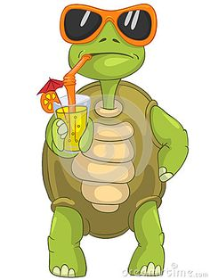 Funny Turtle Drinking Cocktail. Stock Images - Image: 24673774