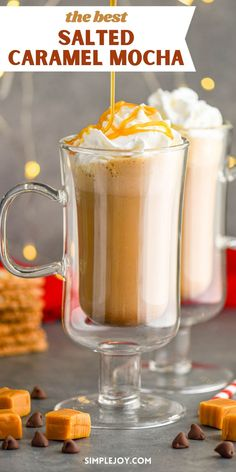 This Salted Caramel Mocha is an easy coffee house drink that you can make at home. Its simple to make and absolutely delicious!