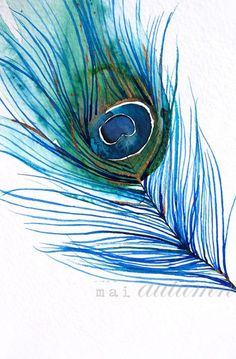 Watercolor Painting - Peacock Feather I - Bird Art - 8x10 Print