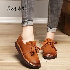 d85fb0540cd7 Tastabo 2018 Lace-up Loafers Casual Flat Shoe Pregnant Women Shoe Mother  Driving Shoe Female Women Flats Hand-Sewing Shoes