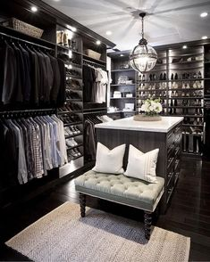 Master Bedroom Closet- his and hers walk-in closet inspiration by Jeff Trotter Design (IG: Walk In Closet Design, Closet Designs, Diy Walk In Closet, Master Closet Design, Closet Tour, Garderobe Design, Walking Closet, Men Closet, Smart Closet
