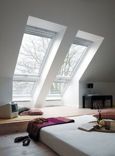 Buy a stunning VELUX or FAKRO Juliet balcony roof window with the UK's largest window supplier. Attic Bedroom Small, Attic Bathroom, Attic Rooms, Attic Spaces, Skylight Bathroom, Attic Playroom, Bathroom Plumbing, Basement Bathroom, Roof Window