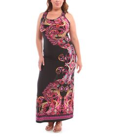 This Black & Purple Paisley Scoop Neck Maxi Dress - Plus by BOLD & BEAUTIFUL is perfect! #zulilyfinds