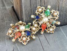 Vintage Sarah Coventry Galaxy Faux Pearl Aurora Borealis Earrings
