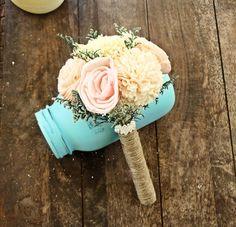 Romantic Wedding Bouquet - Toss Alternative Natural Bridesmaid Bouquet, Keepsake Wood Bouquet, Shabby Chic Rustic Wedding