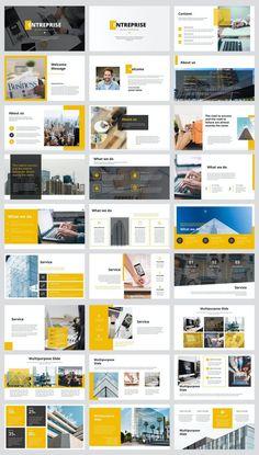 Business PowerPoint Presentation Template - 36 slides Newsletter Design Templates, Powerpoint Design Templates, Presentation Design Template, Business Powerpoint Presentation, Portfolio Layout, More Words, Layout Design