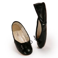 Black Leather Ballet Flats from Porselli | Hand made especially for Pierotucci