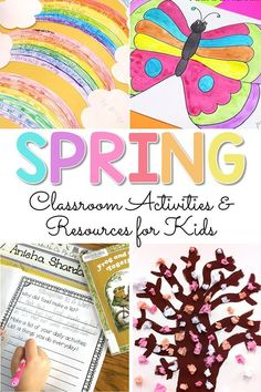 Spring classroom activities and resources for kids, including ideas for teaching art, poetry, literacy and life sciences. Check out the spring book and video list and grab FREE spring resources! #springactivities #springart #springcrafts #craftsforkids #artforkids