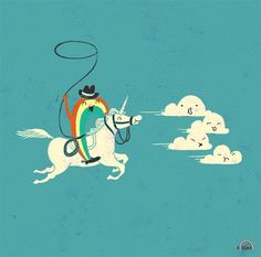 a rainbow riding a unicorn chasing clouds. obviousley they are only chasing the clouds because they need them as sustenence.
