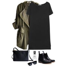 A fashion look from March 2014 featuring T By Alexander Wang dresses, Julien David ankle booties et Yves Saint Laurent sunglasses. Browse and shop related looks. Street Style Outfits, Mode Outfits, Winter Outfits, Casual Outfits, Fashion Outfits, Fashion Mode, Look Fashion, Mode Style, Style Me