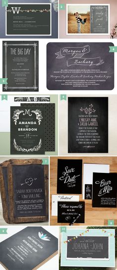 The bottom left invitation. Color + chalkboard wedding invitation since we met at a coffee shop.