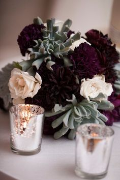 glamorous winter wedding bouquet. J'adore! the purple flowers go with my colour scheme