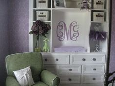 Baby Bolt :) / Purple damask nursery - Nursery Designs - Of course I would get rid of that hideous green chair!!!! uugghhh