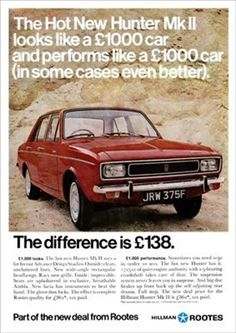 1967 magazine advertisement for the launch of the Hillman Hunter MkII