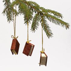 Hanging Minibooks Christmas Tree Decorations Claret by bookandbox