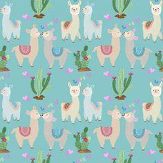Cute Alpaca With Heart Shape Pattern. Alpacas, William Morris, Computer Wallpaper, Iphone Wallpaper, Cactus Illustration, Cute Alpaca, Nautical Pattern, Decoupage Vintage, Kawaii Wallpaper