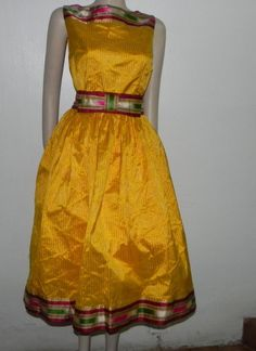Yellow Cocktail Dress - upcycled dress in silk sari | UsTrendy