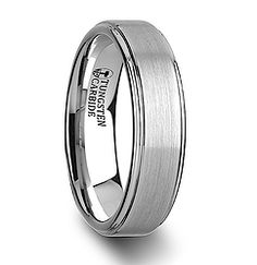 White Tungsten Carbide Ring, Raised Brush Finish