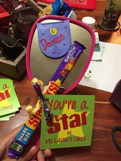 Dance recital gift Diy Dance Gifts, Dance Team Gifts, Dance Teacher Gifts, Cheer Team Gifts, Cheerleading Gifts, Little Sister Gifts, Lil Sis, Dance Recital Gift, Good Luck Gifts