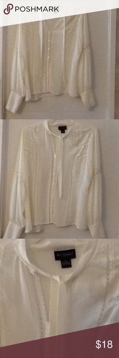 Beautiful blouse. Lace on shirt & sleeves. Ivory This is beautiful. Ivory color. Lots of lace. NWOT Bay studio Tops Button Down Shirts