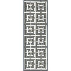 Safavieh Geometric Indoor/Outdoor Courtyard Navy/Beige Runner Rug (2'3 x 10)