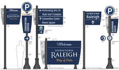 Banner style signage. Downtown Wayfinding System Installed | New Raleigh