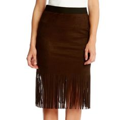 Karen Kane Faux Suede Fringed Skirt ($79) ❤ liked on Polyvore featuring skirts, brown, fringe skirt, elastic waist pencil skirt, long skirts, karen kane skirts and pencil skirt