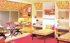 kids rooms, nurseries, vintage home decorating 1960s Decor, 70s Home Decor, Vintage Home Decor, Retro Room, Vintage Room, Vintage Interiors, Colorful Interiors, Modern Interiors, Retro Bedrooms