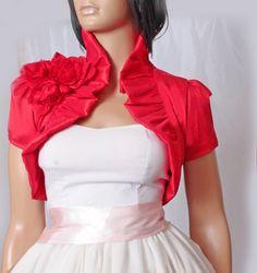 Bridal  red  taffeta  shrug wedding /   by UpToDateFashion on Etsy, $42.99