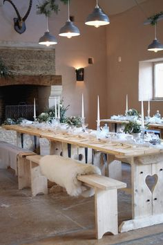 Sheep skin rug on banquet table in front of open fire Winter Barn Weddings, Barn Wedding Venue, Wedding Show, Large Chandeliers, Banquet Tables, Event Venues, Sheep, Centre, Wedding Planning
