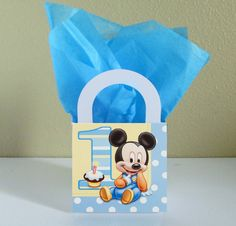 10 Baby Mickey Mouse Favor Boxes Centerpieces Baby Shower / Gender Reveal / Birthday Party Favor