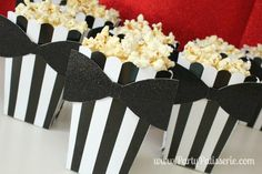 Black and White Popcorn Boxes with bow-tie, set of 10 wedding, Oscars, black tie, birthday Black Tie Party, Bow Tie Party, Popcorn Bar Party, Popcorn Boxes, Gourmet Popcorn, Baby Birthday, 1st Birthday Parties, Birthday Gifts, Birthday Ideas