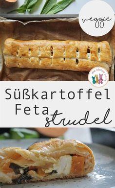 Schnelle, einfaches und vegetarisches Rezept für die ganze Familie: Süßkartoffel-Feta-Strudel.  So mögen auch Kinder Gemüse. Schnell gemacht, schmeckt auch kalt als Snack. Rezept. Vegetarisch und gesund. Picknick Snack