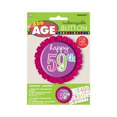Button Happy Birthday roze  Laat iedereen weten dat jij vandaag de jarige bent met deze opvallende button waarop je je leeftijd kunt plakken! Bij deze prachtige roze Happy Birthday button zitten allerlei stickers van cijfers bijgeleverd.  EUR 2.50  Meer informatie
