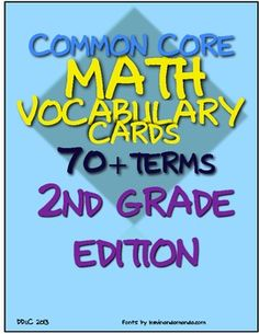 Math Vocabulary Cards for Common Core, Second Grade