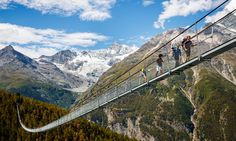 High and handsome amid beautiful Swiss scenery, the Charles Kuonen Suspension Bridge offers hikers a time-saving, jaw-dropping experience