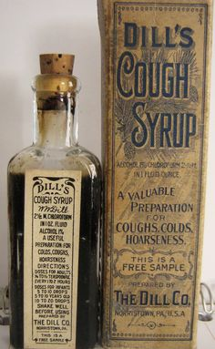Dill's Cough Syrup packaging & bottle label