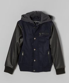 Love this Navy Hooded Varsity Jacket - Toddler & Boys by Urban Republic on #zulily! #zulilyfinds