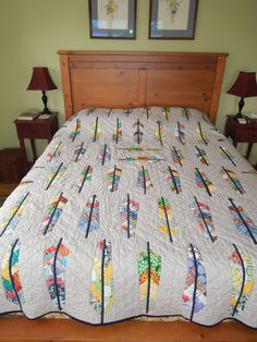 Anna Maria Horner Feather Quilt made for my daughter- all done!