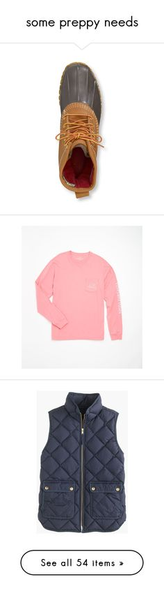 """some preppy needs"" by toriemichellee on Polyvore featuring shoes, boots, l.l.bean, l.l. bean boots, tops, t-shirts, shirts, vineyard vines, red long sleeve shirt and graphic long sleeve shirts"